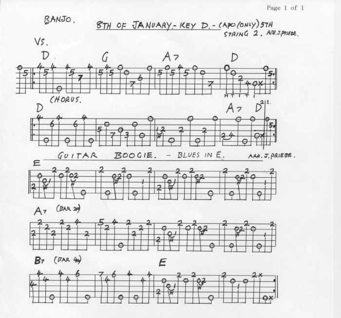 Banjo Tablatures E-K